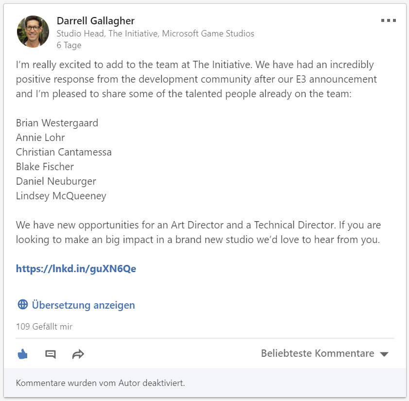 Darrel Gallagher on LinkedIn About The Inititivae - XboxDevCom